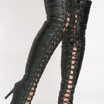 Black Faux Leather Quilted Thigh High Boots @ Cicihot Boots Catalog:women's winter boots,leather thigh high boots,black platform knee high boots,over the knee boots,Go Go boots,cowgirl boots,gladiator boots,womens dress boots,skirt boots.