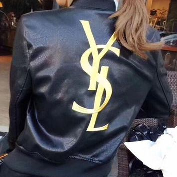 YSL Fashion Women Embroidery Logo Leather Long Sleeve Cardigan Jacket Coat G-Y-GXYAL-1