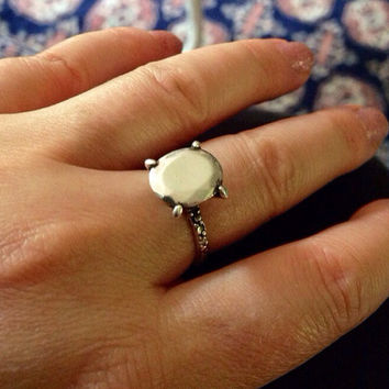 Sterling silver diamond all silver ring size 6