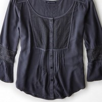 AEO 's Button Front Peasant Shirt