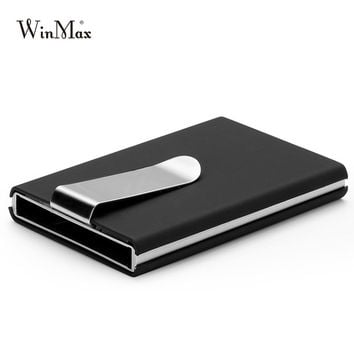 High QualitId credit card holder Automatic card sets business aluminum wallet Solid color card sets card wallet cash clip holder