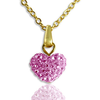 Heart Necklace/Girls Heart Necklace/Little Girls Necklace/Flower Girl Jewelry/Crystal Heart Pendant/ Birthstone Necklace/14K Pink