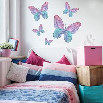 Five Watercolor Butterfly Wall Decals, Eco-Friendly Matte Fabric Wall Stickers
