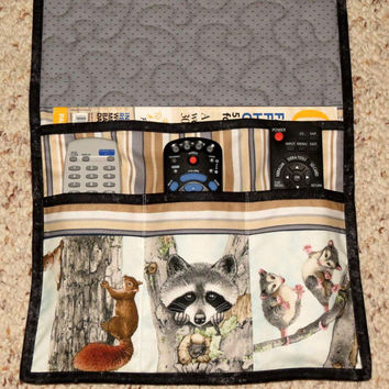 Quilted Armchair Caddy, Bedside Caddy, Remote Holder, Animals