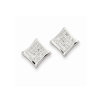 925 Sterling Silver Fluted Squares Diamond Stud Earrings - (J,I3,0.117cttw)