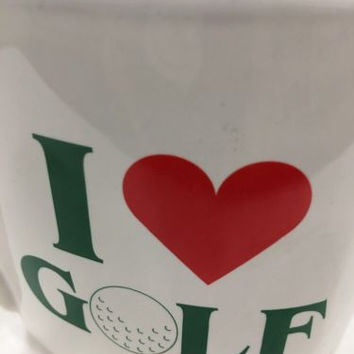 I Love Golf Heart Shaped White Ceramic Coffee Tea Mug Cup 1993 Golf Gifts