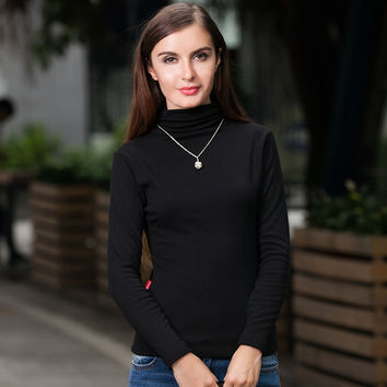 Women Winter Shirts Brand Long Sleeves Solid High Collar Pullover/Wild Section Bottoming Shirt