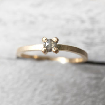 Tiny Stacker 3mm Gray Rose Cut Diamond Ring - Your metal