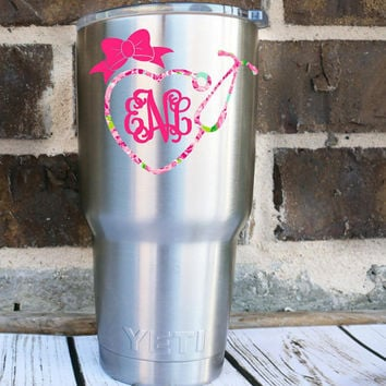 Lilly Inspired Bow Stethoscope Monogram Decal- Bow Monogram - Laptop Decal - Water Bottle Decal - Car Decal -Nurse- RN - Window Decal
