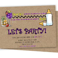 Adult Baby Shower Invitation - Funny Alcohol Baby Shower Invitations - Cheers Toast Baby Brunch Invite - Raunchy Neutral Lets Party Purple