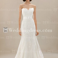 Modest Strapless Lace Wedding Dress BC083