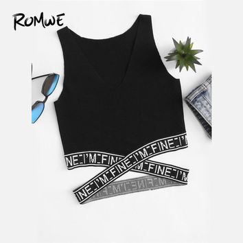 ROMWE Black Letter V Neckline Criss Cross Tank Top 2018 Spring Summer Fall Ladies Round Neck Casual Sexy Slim Fit Tank