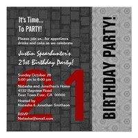 21st Birthday Modern Red Silver Black D416 Personalized Invitation from Zazzle.com