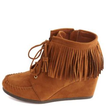 Lace-Up Fringe Moccasin Wedge Booties by Charlotte Russe - Cognac