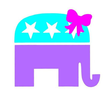 Multicolored republican Elephant with Bow vinyl Decal
