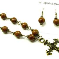 Necklace - Ornate Cross with Golden Beads