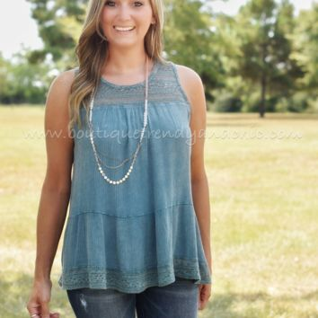 LIVE A LITTLE LACE RUFFLE TANK
