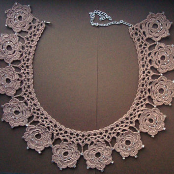 Flowers collar, Beige knited detachable crochet collar decorated with sparkling crystals, ready to ship