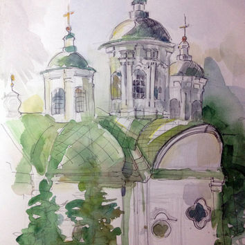 Church Painting, Original Watercolor, Architecture Art, Architectural Drawing, Modern Painting, Water Color Art, Original Art Work