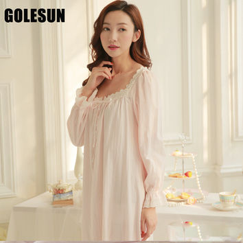 Women princess nightdress women lace cotton nightgown women sleepwear lounge womens nightgowns