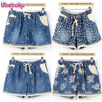 Ubetoku 2017 Summer sexy women denim shorts lady girl short jeans flower print lace shorts casual women  short pants