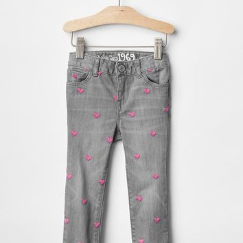 Gap 1969 Embroidered Heart Skinny Jeans