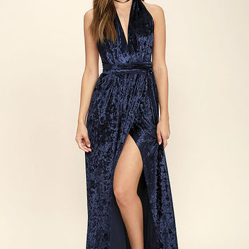 Aphrodite's Kiss Navy Blue Velvet Halter Maxi Dress