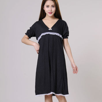 Women Nightgowns Female Sleepshirt Spring 2017 New  Summer 100% Cotton Lady Nightdress Mum Lounge S M L XL Pink Black Blue