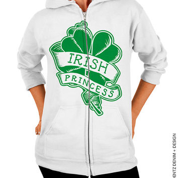 Irish Princess - St. Patrick's Day - White Zip Up Hoodie