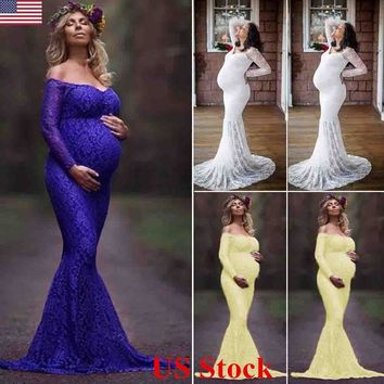 US Womens Maternity Photography Maxi Gown Lace Long Off Shoulder Pregnant Dress