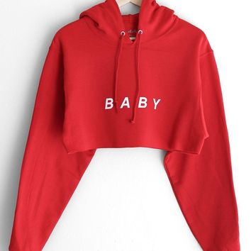 Baby Oversized Cropped Hoodie   Red