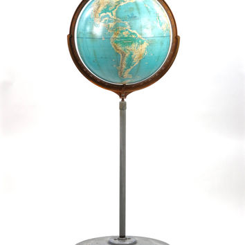 "Vintage Globe, Mid Century Globe On Casters, XXL Floor Globe, Old School Globe, Cartocraft Visual Relief 16"" Globe On Stand And Casters"