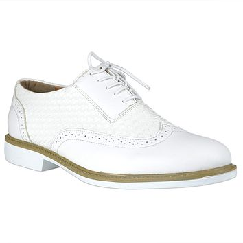 Mens Casual Shoes Lace Up Oxford Derby Braided Shoes White
