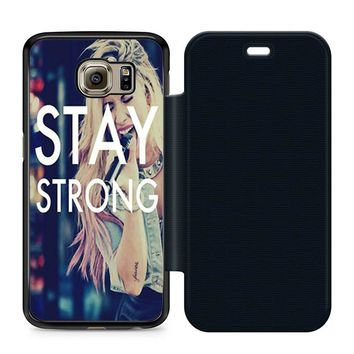 Stay Strong Demi Lovato Leather Wallet Flip Case Samsung Galaxy S6