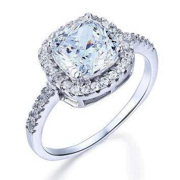 925 Sterling Silver Bridal Wedding Anniversary Engagement Ring 3 Carat Cushion Cut Simulated Diamond