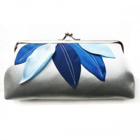 Funny simple small clutch with blue leaves | cuteandunique - Bags & Purses on ArtFire