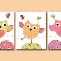 "Owls Kids Wall Art, Baby Girl Room Decor, Nursery print set of 3 11"" x 14"" Print, owls, rose, pink, yellow, green, blue, decoration"
