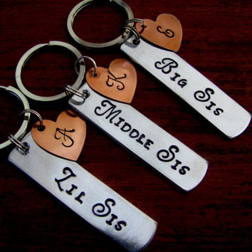 SISTER GIFT SET Key Chains Personalized Keychain Hand Stamped Aluminum  Big Sister Middle Little Sister Tag with Copper Initial Disk