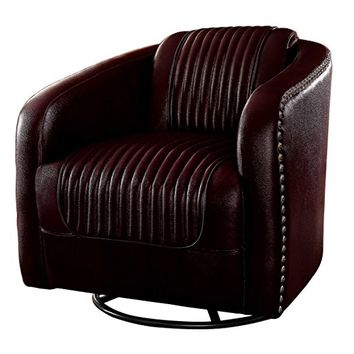 Moderne collection dark brown bycast vinyl upholstered swivel barrel chair with nail head trim