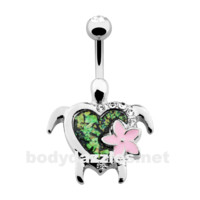 Silver Kauai Flower Turtle Belly Button Ring 14ga Navel Ring Body Jewelry Surgical Steel