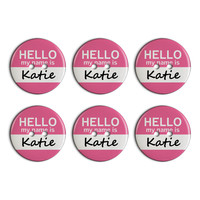 Katie Hello My Name Is Plastic Resin Button Set of 6