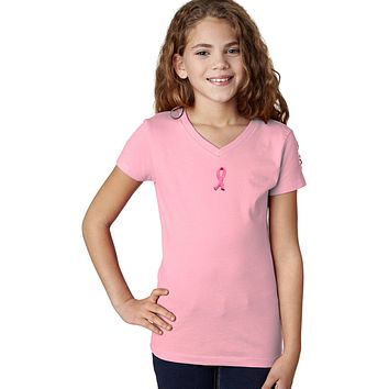 Buy Cool Shirts Girls Breast Cancer T-shirt Embroidered Ribbon Small Print VNeck
