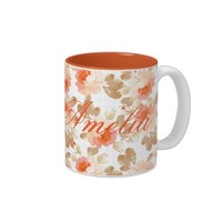 coral,brown,beige,rose,pattern,elegant,chic,beauti Two-Tone coffee mug