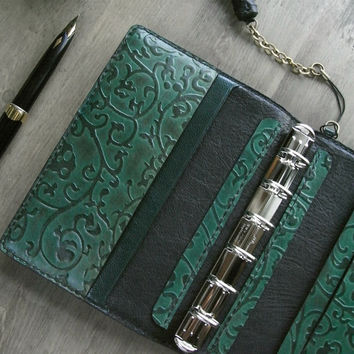 leather planner, viridian arabesque, vegetable tanned, refillable journal, planner binder, for filofax refills, green planner, handstitched