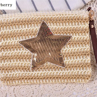BEARBERRY 2017 new fashion sequined star Straw Messenger Bags Woven Day Clutch Flap Bag Beach Package summer clutch bags MN 539