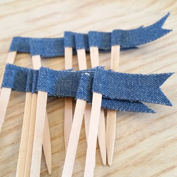 Denim Cupcake Topper, Cupcake Pennant Flag, Wooden Food Pick, Cupcake Pick, Denim Party Decor for Birthdays, Baby Shower, Office Parties