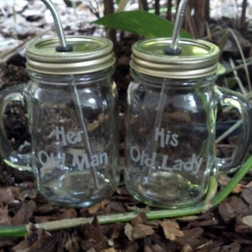 His Hers Mason Jar Mugs with Stainless Steel Straw and Lid