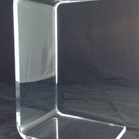 "Clear Acrylic Lucite ""C"" Sofa/Side or End Table"
