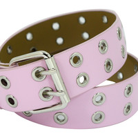 Punk Rock Double Grommet Holes Leather Belt 2-Row Studded Leather Belt