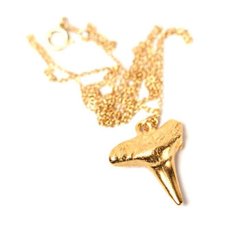 Gold shark tooth necklace - shark tooth necklace - a 22k gold plated sharks tooth on a 14k gold filled chain